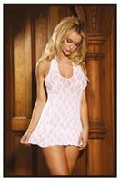 White Lace Halter Mini Dress