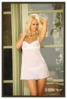 White Embroidered Mesh Babydoll With Underwire Cups