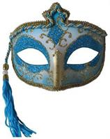 Blue Tasseled Mardi Gras Mask