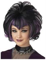 Gothic Flip Black Purple Wig
