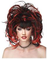 Evil Sorceress Black Red Wig