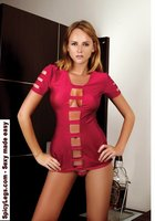 Open front fitted short sleeve camisole with horizontal straps