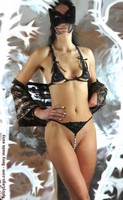 Floral Lace and Bead Strand Crotchless G String-Black