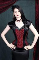 Red Rose Taffeta Overbust Corset