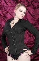 Black Pinstriped Over bust Corset