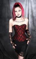 Red with Black Lace Over bust Corset