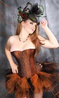 Brown with Gold Embroidery Over bust Corset