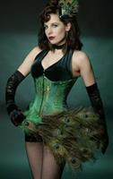 Emerald Corset with Gold and Silver Brocade
