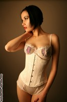White Floral Brocade Solid Underbust Corset