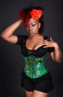 Green with Multi-Floral Satin Brocade Underbust Corset