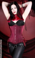 Long Cut Raspberry Satin Shimmer Corset