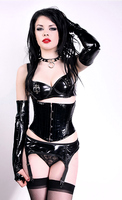 Shiny Black Vinyl Short Waist Cincher