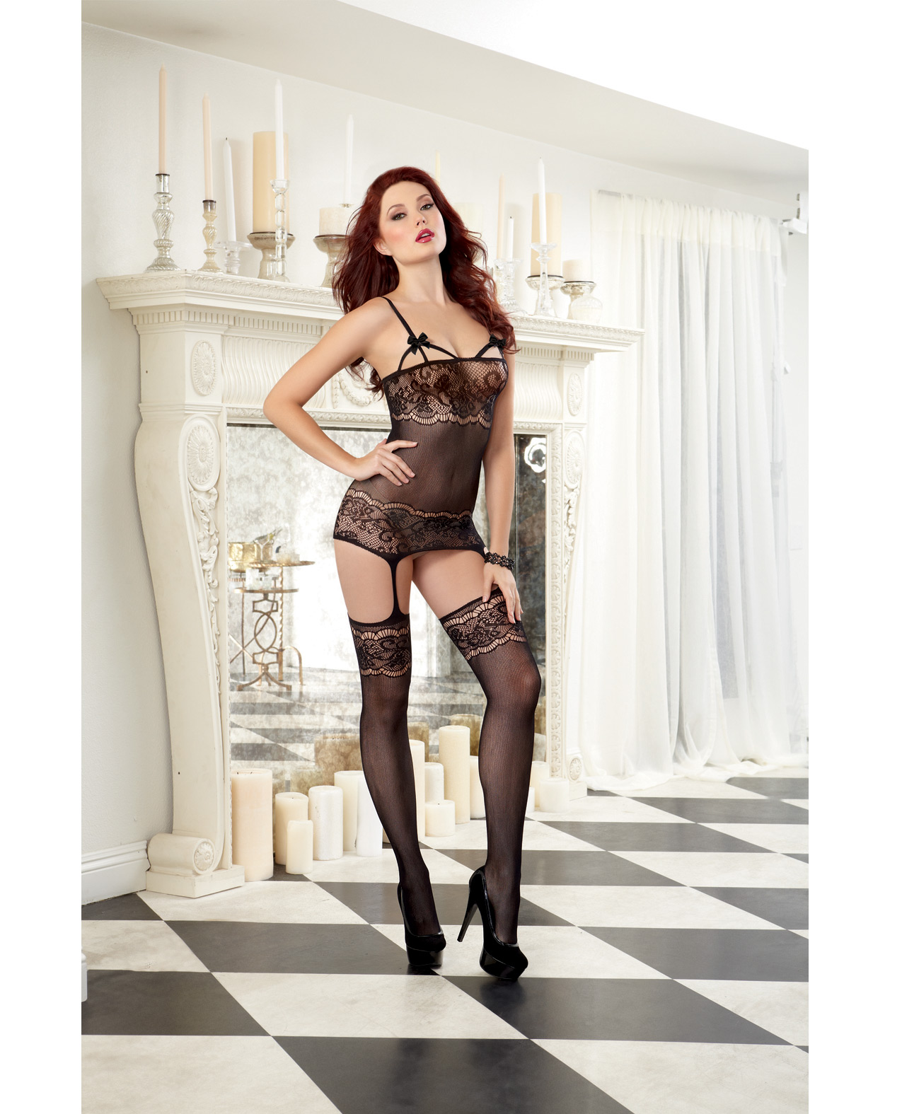 Sheer Garter Dress With Lace Design Spicylegs Com