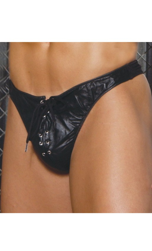 Leather Thong With Lace Up Front