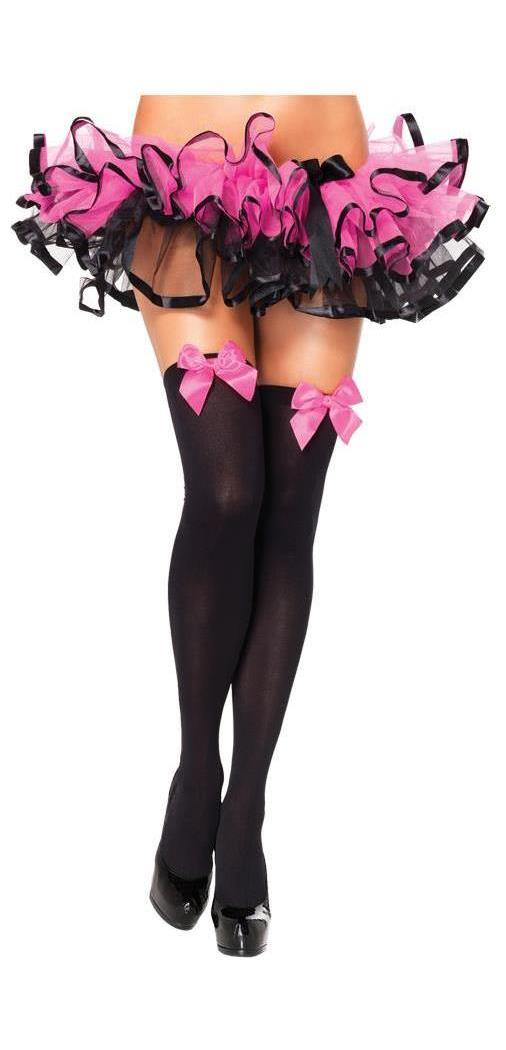 Black Thigh High Stockings With Pink Bows Spicylegs Com