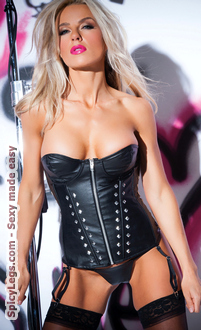 Faux Leather Studded Corset