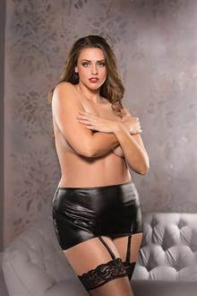 Plus Size Wet Look Garter Skirt