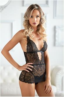Lace Chemise with G-string black