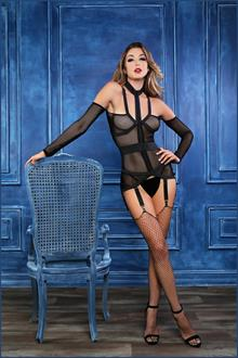 ADORE CHLOE UNTAMED HEART CORSELETTE WITH GARTERS