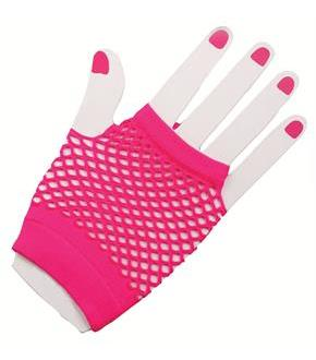 80's Neon Pink Short Fishnet Adult Gloves