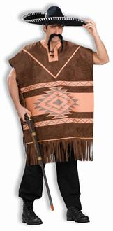 Western Brown Poncho Adult Costume