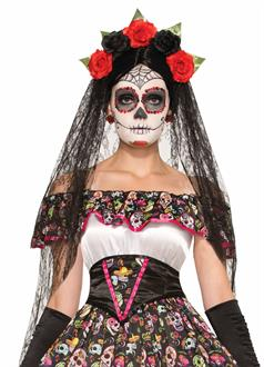 Day of the Dead Black Veil Headband - Adult