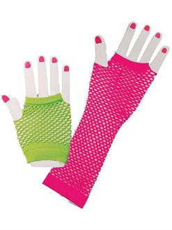 80s Neon Fishnet Glove Set