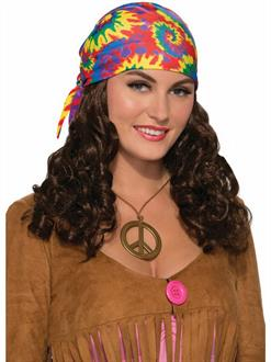 Hippie Adult Wig With Headscarf