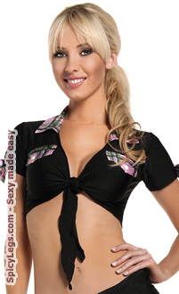 Women's Black Tie Top with Pink Plaid Trim - Pink - O/S
