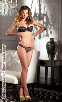 2-Piece Padded leopard print mesh balcony bra with matching underwear