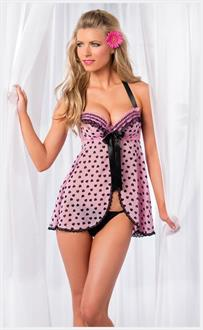 Women's Two Piece Mesh babydoll with matching thong