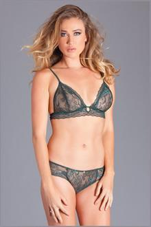 2PC lace bralet and panty. Has lace band at underbust with adjustable back straps