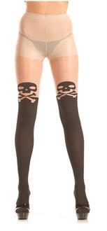 Sheer pantyhose with skull and crossbone detail