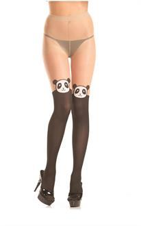 Sheer pantyhose with panda design