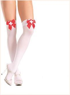 Sheer thigh highs with red satin ribbon and white cross patch