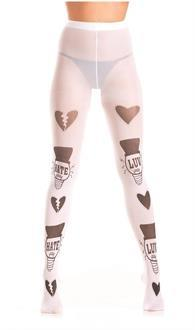 "White ""Luv"" and ""Hate"" pantyhose"
