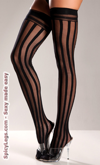 Nylon Striped Thigh Highs