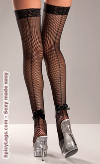 Lycra Stay Up Fishnet Thigh Highs With Back Bow