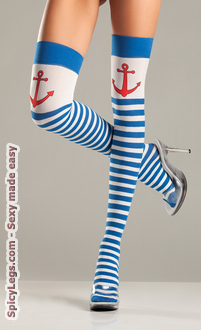 Anchors Away Striped Thigh Highs
