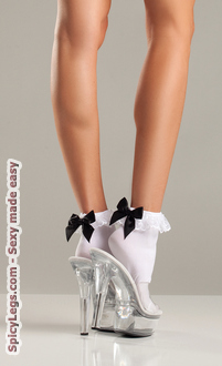 Nylon Anklet With Ruffle Top And Satin Bow