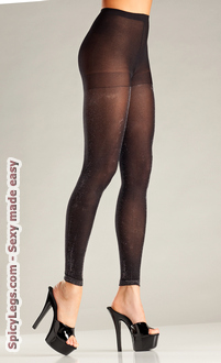 Opaque Black and Silver Footless Tights