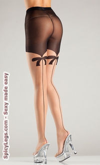 Sheer tights with mock bow suspender and backseam