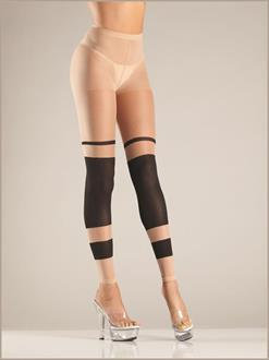 Sheer block stripe footless tights