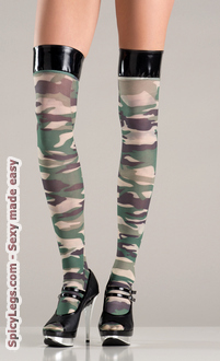 Camouflage stockings with vinyl tops.