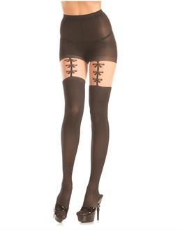 Opaque pantyhose with faux bow garterstrap detail