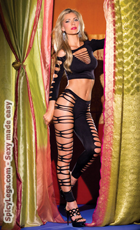 2 piece seamless long sleeved shredded half top and shredded footless tights.