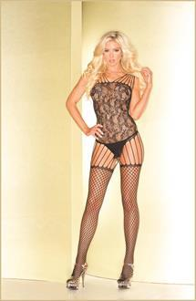 Black abstract pattern bodystocking with multiple shoulder and suspender straps.