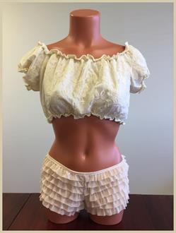 Cream Lined Lace Short Sleeve Peasant Top