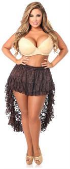 Dark Brown Lace High Low Skirt