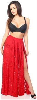 Sheer Red Lace Skirt